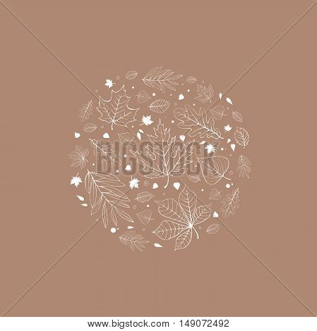 Autumn leaves design white outline on beige background