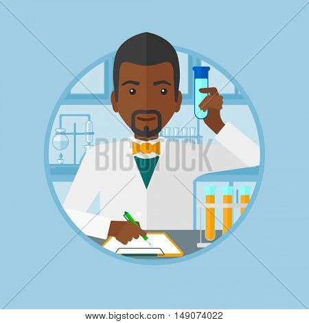 An african-american laboratory assistant taking some notes. Laboratory assistant working with a test tube at the laboratory. Vector flat design illustration in the circle isolated on background.