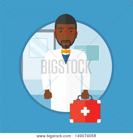 African-american doctor holding first aid box. Doctor in medical gown standing in the hospital corridor with first aid kit in hand. Vector flat design illustration in the circle isolated on background