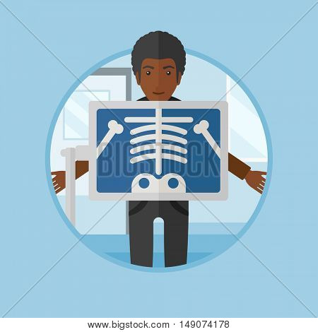 An african patient during chest x ray procedure in examination room. Man with x ray screen showing his skeleton at doctor office. Vector flat design illustration in the circle isolated on background.