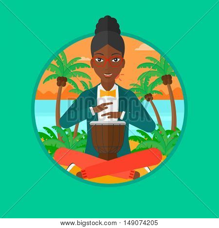 An african-american woman playing ethnic drum. Mucisian playing ethnic drum on the beach. Woman playing ethnic music on tom-tom. Vector flat design illustration in the circle isolated on background.