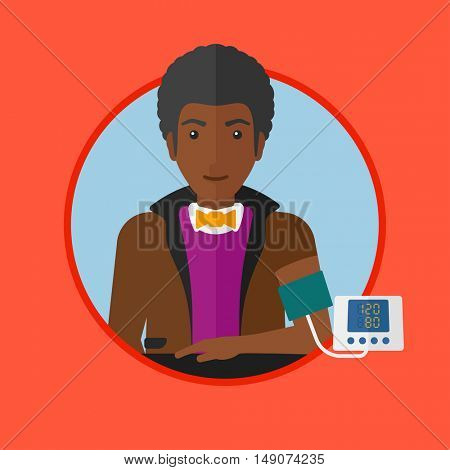 An african-american man checking his blood pressure with digital blood pressure meter. Young man measuring blood pressure. Vector flat design illustration in the circle isolated on background.