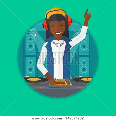 An african-american DJ mixing music on turntables on the stage of nightclub. DJ playing and mixing music on deck with vinyl record. Vector flat design illustration in the circle isolated on background