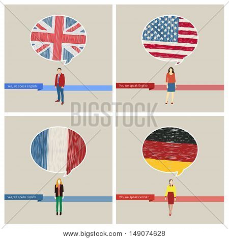 Concept of travel or studying languages set. Speech bubble with hand drawn flags. English, american, germany, french