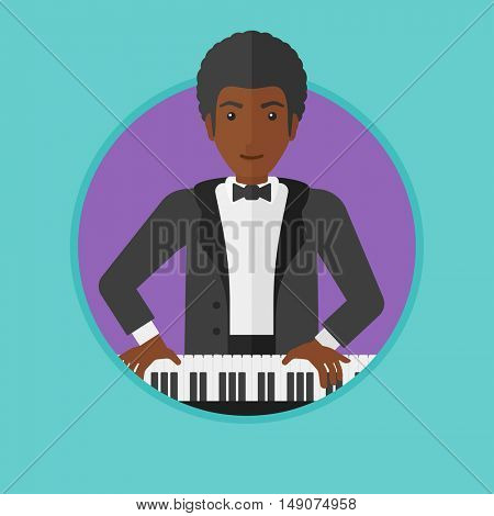 An african-american young musician playing piano. Pianist playing upright piano. Male artist playing on synthesizer. Vector flat design illustration in the circle isolated on background.