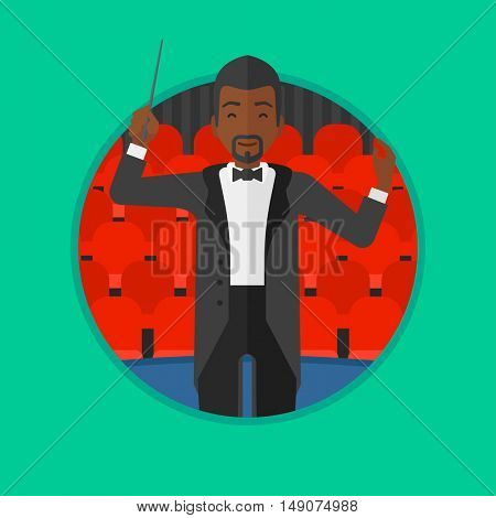 An african-american young orchestra conductor directing with baton. Man conducting an orchestra on the background of concert hall. Vector flat design illustration in the circle isolated on background.
