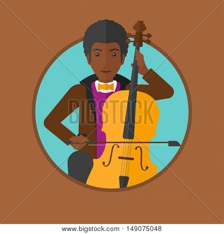 An african-american young man playing cello. Cellist playing classical music on cello. Young man with cello and bow. Vector flat design illustration in the circle isolated on background.