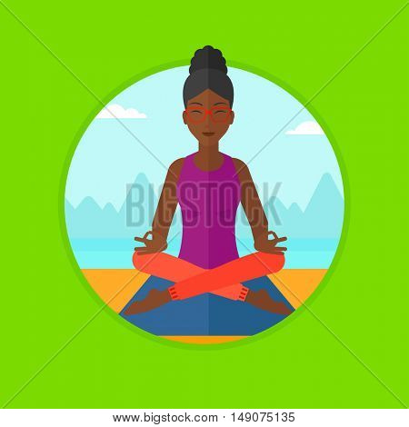 An african-american woman meditating in yoga lotus pose. Woman relaxing in the yoga lotus position. Woman doing yoga on nature. Vector flat design illustration in the circle isolated on background.