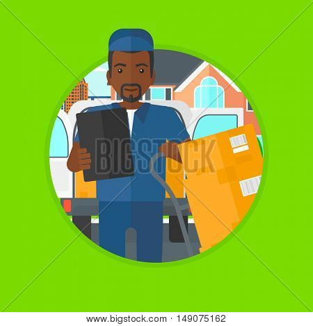 An african-american delivery man with cardboard boxes on troley. Young delivery man standing in front of delivery van. Vector flat design illustration in the circle isolated on background.