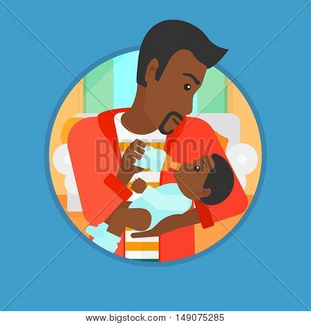 African-american father feeding baby with a milk bottle. Father feeding newborn baby at home. Baby boy drinking milk from bottle. Vector flat design illustration in the circle isolated on background.