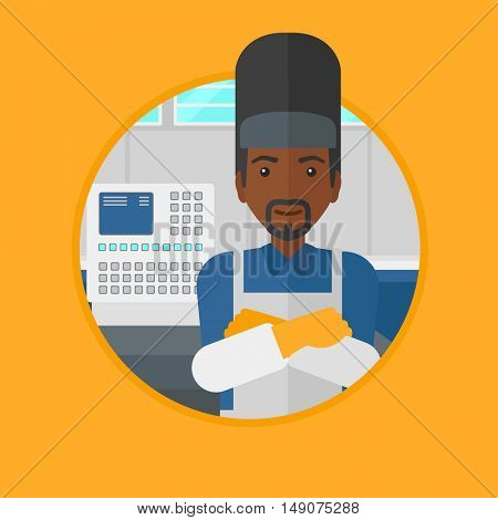 An african-american welder at factory workshop. Industrial worker with protective welder mask. Welder with arms crossed. Vector flat design illustration in the circle isolated on background.