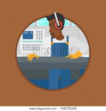 An african-american man working on metal press machine. Worker in headphones operating metal press machine at factory workshop. Vector flat design illustration in the circle isolated on background.
