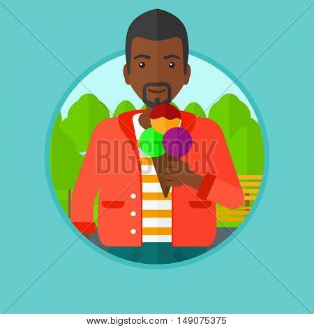 An african-american young man eating a big ice cream. Man holding an ice cream in hand. Man enjoying an ice cream at park. Vector flat design illustration in the circle isolated on background.
