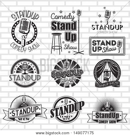 Standup comedy show vector labels and logo design poster