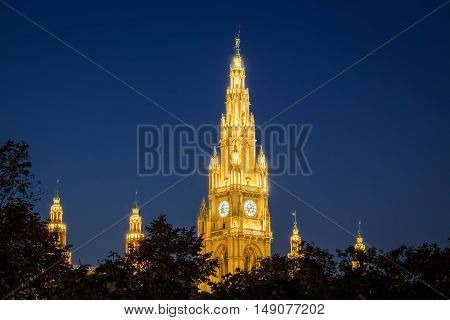 Vienna Town Hall At Night illuminated architecture on the Ring Strasse