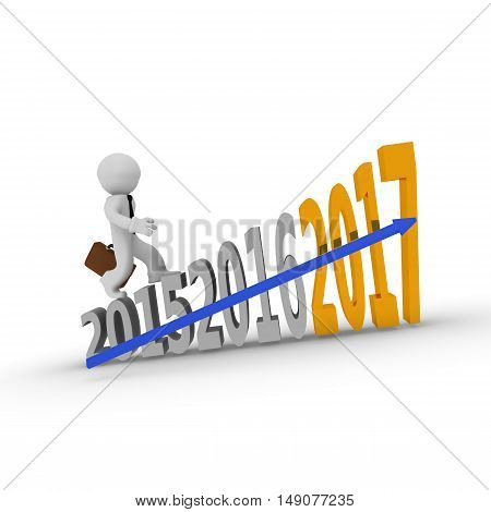 Aim high concept with a small businessman on stairs 3d rendering