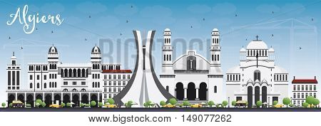 Algiers Skyline with Gray Buildings and Blue Sky. Vector Illustration. Business Travel and Tourism Concept. Image for Presentation Banner Placard and Web Site.