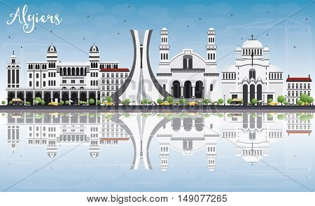 Algiers Skyline with Gray Buildings, Blue Sky and Reflections. Vector Illustration. Business Travel and Tourism Concept. Image for Presentation Banner Placard and Web Site.