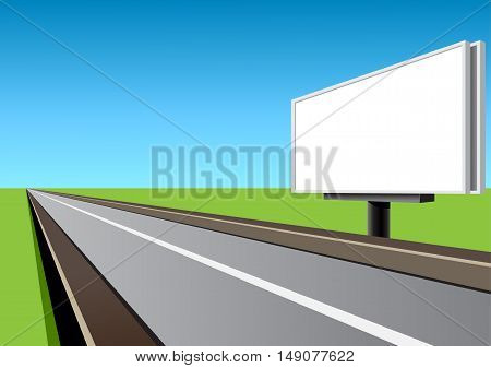 White billboard on the empty highway at day