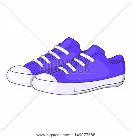 Womens purple sneakers icon in cartoon style isolated on white background. Wear symbol vector illustration