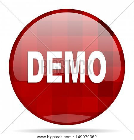 demo red round glossy modern design web icon