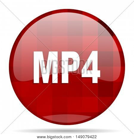 mp4 red round glossy modern design web icon