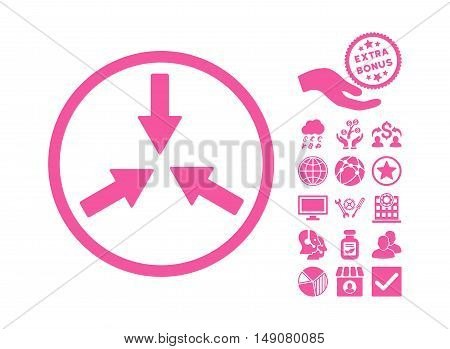 Collide Arrows icon with bonus elements. Vector illustration style is flat iconic symbols pink color white background.