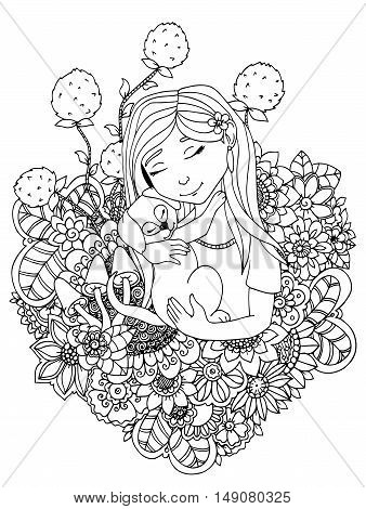 Vector illustration  girl child and puppy in flowers. Doodle drawing. Meditative exercise. Coloring book anti stress for adults. Black and white.