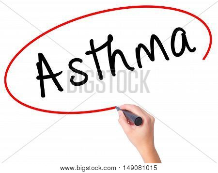 Women Hand Writing Asthma With Black Marker On Visual Screen