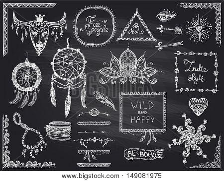 Chalkboard hand drawn sketch elements set in boho style, hippie, indie style, dream catcher, necklace and bracelets, frames, dividers and flowers