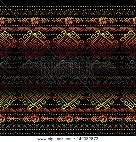 Darck horizontal seamless pattern with tribal ornament ethnic stripes in black background. Geometric colorful design. Vector illustration stock vector.