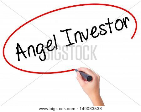 Women Hand Writing Angel Investor With Black Marker On Visual Screen.