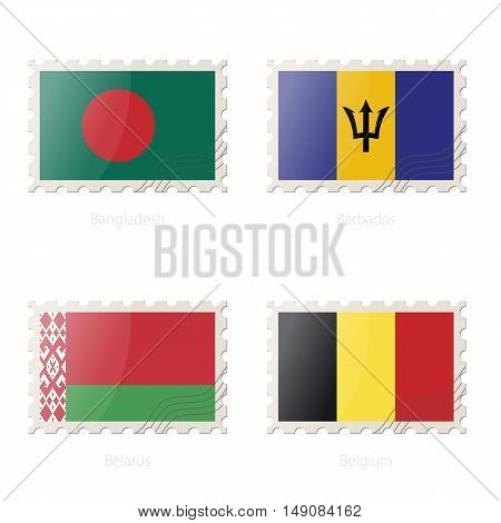 Postage Stamp With The Image Of Bangladesh, Barbados, Belarus, Belgium Flag.
