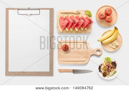 Design Concept Of Mockup Fresh Vegetable, Fruits And Clip Board Set Isolated On White Background. Co