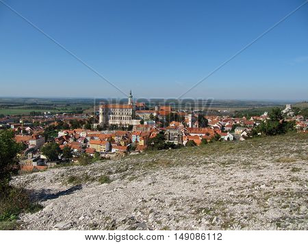 Mikulov (Nikolsburg) Castle and Town in South Moravia Czech Republic, View from Holy Hill