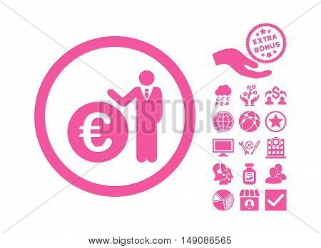 Euro Economist pictograph with bonus clip art. Vector illustration style is flat iconic symbols pink color white background.