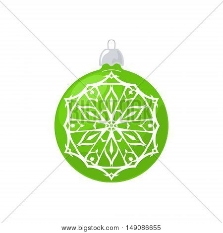 Green Ball with Snowflake Isolated on White Background , Christmas Tree Decoration, Merry Christmas and Happy New Year, Vector Illustration