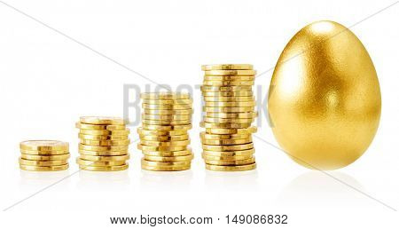 Gold coins and gold egg isolated on white.