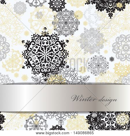 Winter abstract design with gold and white snowflakes and stars and silver background. Silver design. Horizontal border stripe and text place. Silver vector illustration.