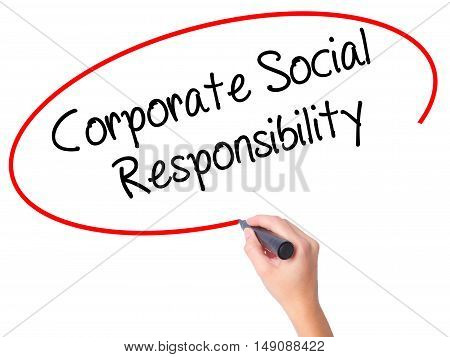 Women Hand Writing Corporate Social Responsibility With Black Marker On Visual Screen.
