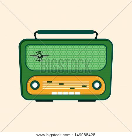 Green Retro Radio. Flat Design. Vector illustration