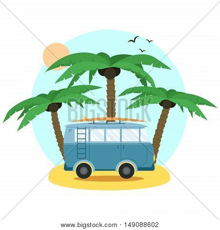 Surf Van and palm. Flat Design. Summer Vacation Time. Vector illustration