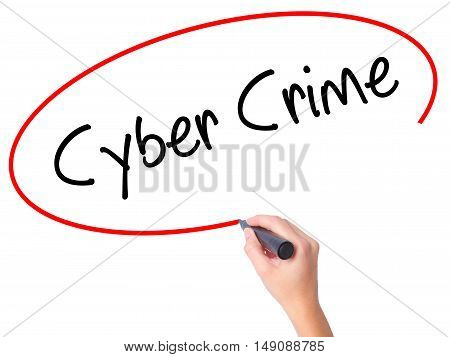 Women Hand Writing Cyber Crime With Black Marker On Visual Screen