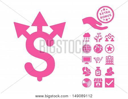 Expences icon with bonus design elements. Vector illustration style is flat iconic symbols pink color white background.