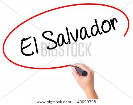 Women Hand Writing El Salvador With Black Marker On Visual Screen