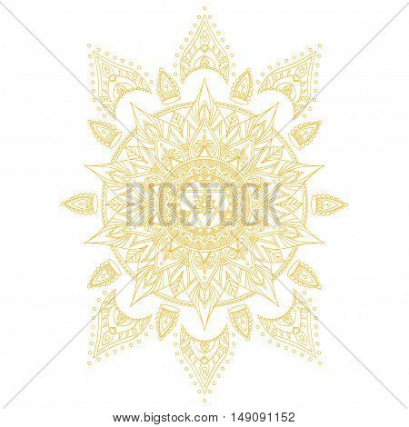 Chakra Manipura for Henna Tattoo and for Your Design. Vector illustration