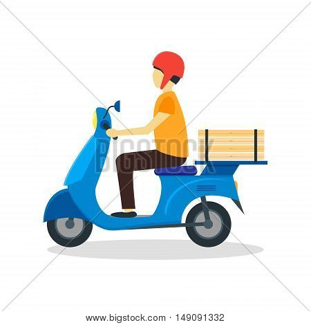 Courier Delivering Pizza. Flat Design Style. Vector illustration