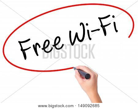 Women Hand Writing Free Wi-fi  With Black Marker On Visual Screen