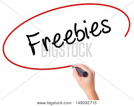Women Hand Writing Freebies With Black Marker On Visual Screen