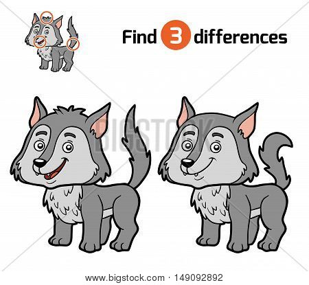 Find differences, education game for children, Wolf